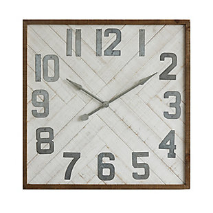 "Home Accents 36"" Square Herringbone Inlay Distressed White Wood Wall Clock, , large"