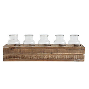 Wood Crate With 5 Glass Bottles (Set of 6 Pieces), , large