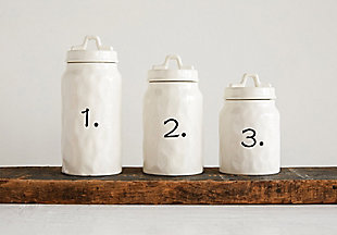 White Ceramic Canisters with Numbers (Set of 3 Sizes), , rollover