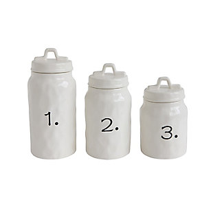 White Ceramic Canisters with Numbers (Set of 3 Sizes), , large