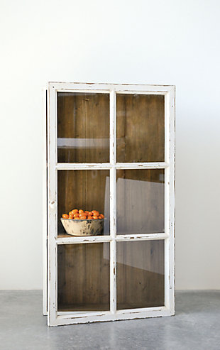 Antique White Wood Wall Cabinet with 3 Shelves, , large