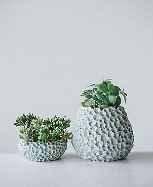 Light Blue Textured Ceramic Planter, , rollover