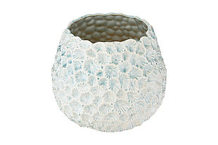 Light Blue Textured Ceramic Planter, , large