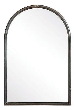 Arched Mirror with Metal Trim, , large