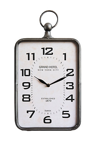 Home Accents Metal Rectangle Hanging Clock with Handle Decoration on Top, , large