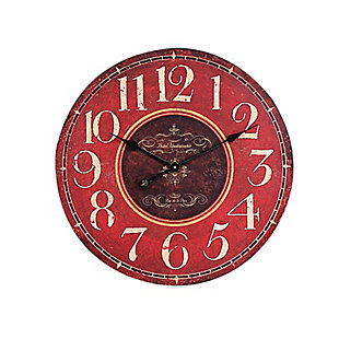 Home Accents Wooden Wall Clock, Red, , large