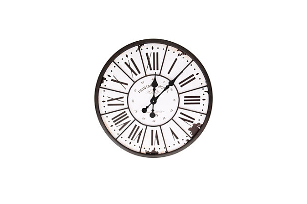 Home Accents Turn of The Century Style Metal and Wood Wall Clock, , large