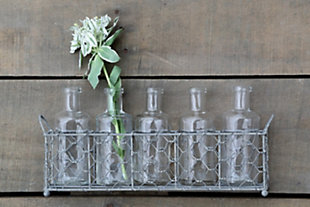 Wire Holder with 5 Glass Vase Bottles (Set of 6 Pieces), , rollover