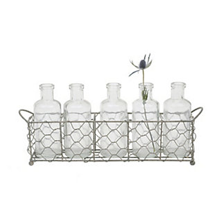 Wire Holder with 5 Glass Vase Bottles (Set of 6 Pieces), , large