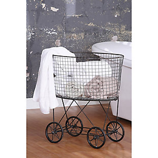 Vintage Metal Laundry Basket with Wheels, , rollover