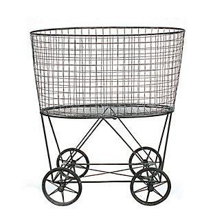 Vintage Metal Laundry Basket with Wheels, , large