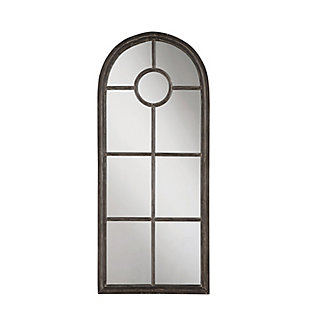Arched Mirror with Distressed Black Metal Frame, , large