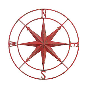 Large Distressed Red Metal Compass Wall Decor, , large