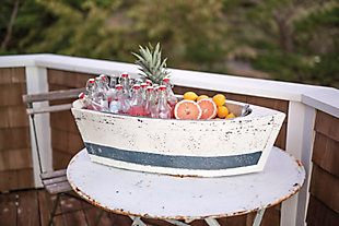 Decorative Wood Boat with Tin Insert, , large