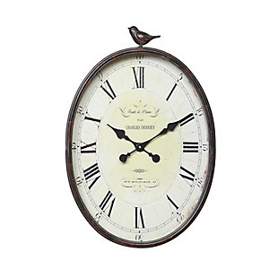 Home Accents Oval Metal Wall Clock with Bird, , rollover