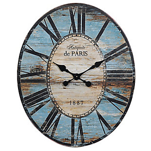 "29"" Oval Turquoise Wood Wall Clock, , large"