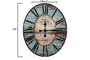 """29"""" Oval Turquoise Wood Wall Clock, , large"""