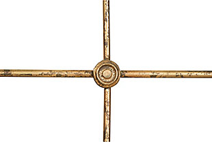 Home Accents Divided Rectangle Mirror with Distressed Gold Frame, , large