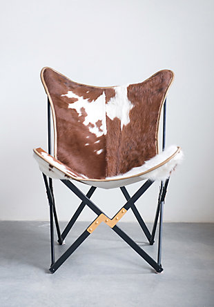 Home Accents Cowhide Folding Butterfly Chair with Black and Gold Metal Base (Each one will vary), , rollover