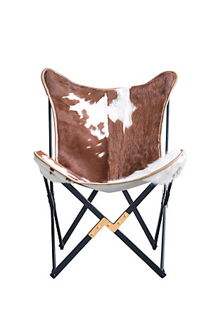 Home Accents Cowhide Folding Butterfly Chair with Black and Gold Metal Base (Each one will vary), , large