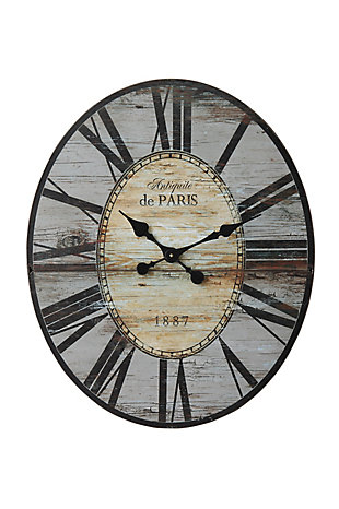 "29"" Oval Distressed Grey Wood Wall Clock, , large"