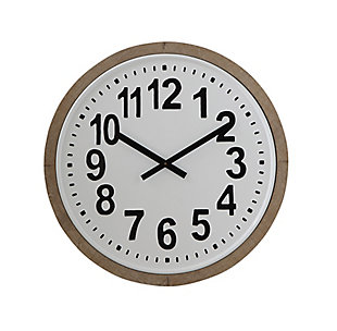 Home Accents Wood Framed Round Metal Wall Clock, , large