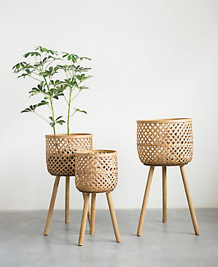 Woven Bamboo Floor Baskets with Wood Legs (Set of 3 Sizes), , rollover