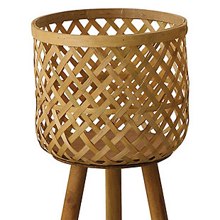 Woven Bamboo Floor Baskets with Wood Legs (Set of 3 Sizes), , large