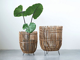 Round Arurog Baskets with Metal Clothespin Feet (Set of 2 Sizes), , rollover