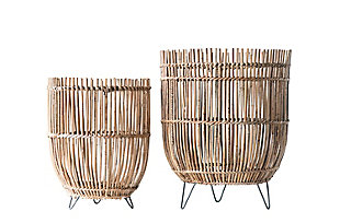 Round Arurog Baskets with Metal Clothespin Feet (Set of 2 Sizes), , large