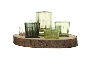 Paulownia Wood Slice with 7 Glass Votive Holders (Set of 8 Pieces), , large