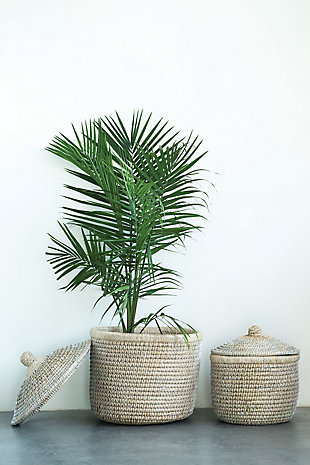 Whitewashed Woven Baskets with Lids (Set of 2 Sizes), , rollover