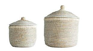 Whitewashed Woven Baskets with Lids (Set of 2 Sizes), , large