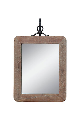 Small Wood Framed Rectangle Wall Mirror with Black Metal Hanging Bracket (Set of 2 Pieces), , large