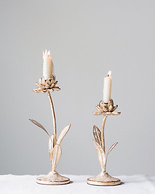 Cut Metal Flower Shaped Taper Candleholder in Distressed Gold Finish (Set of 2 Sizes), , rollover