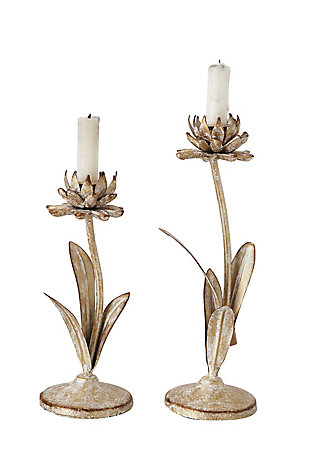 Cut Metal Flower Shaped Taper Candleholder in Distressed Gold Finish (Set of 2 Sizes), , large