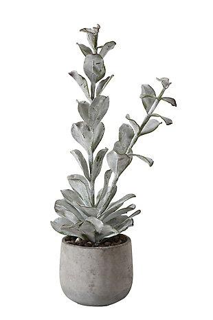Faux Succulent in Cement Pot, , large