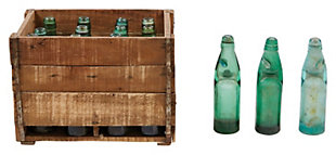 12 Found Recycled Glass Banta Soda Bottles in Wood Crate (Each one will vary), , large