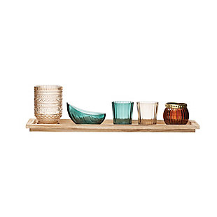 Paulownia Wood Tray with 5 Glass Votive/Tealight Holders (Boxed Set of 6 Pieces), , large
