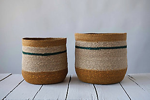 "10.75"" and 12.25"" Handwoven Natural Seagrass Striped Baskets (Set of 2 Sizes), , rollover"