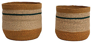 "10.75"" and 12.25"" Handwoven Natural Seagrass Striped Baskets (Set of 2 Sizes), , large"