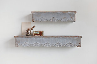 """Home Accents 22.75"""" and 33.5"""" Heavily Distressed Metal Wall Shelves with Scalloped Edges (Set of 2 Sizes), , rollover"""