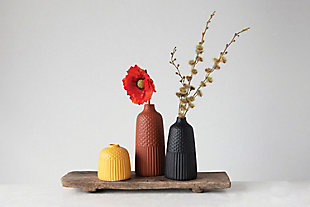 Embossed Stoneware Vases with Fluted and Polka Dot Designs (Set of 3 Sizes/Colors), , rollover