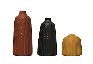 Embossed Stoneware Vases with Fluted and Polka Dot Designs (Set of 3 Sizes/Colors), , large