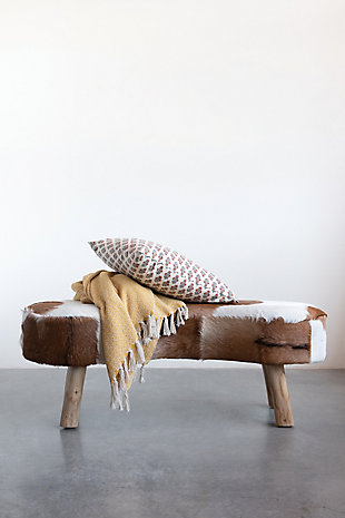 "Home Accents 39.25""W Goat Fur Upholstered Bench with Cowhide Print and Wood Legs, , rollover"