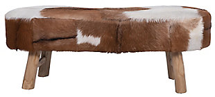 "Home Accents 39.25""W Goat Fur Upholstered Bench with Cowhide Print and Wood Legs, , large"