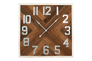 "Home Accents 36"" Square Herringbone Inlay Stained Wood Wall Clock, , large"