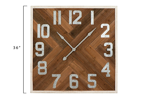 """Home Accents 36"""" Square Herringbone Inlay Stained Wood Wall Clock, , large"""