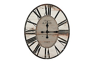 "Home Accents 29"" Oval Distressed White Wood Wall Clock, , rollover"