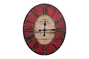"Home Accents 29"" Oval Distressed Red Wood Wall Clock, , large"